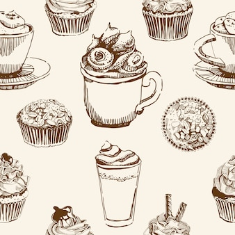 Cups and sweets seamless pattern