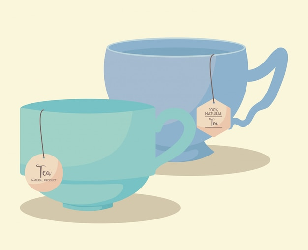 Cups tea natural isolated