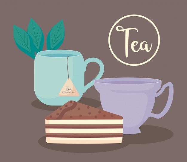 Cups tea natural with slice cake