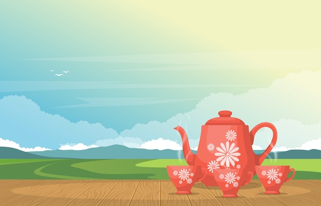 Cups of tea on table in outdoor nature landscape sky view illustration
