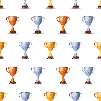 Cups of winners award for first, second and third winners position on white background seamless pattern