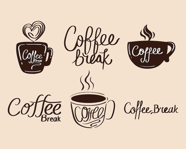 Cups with coffee break signboard