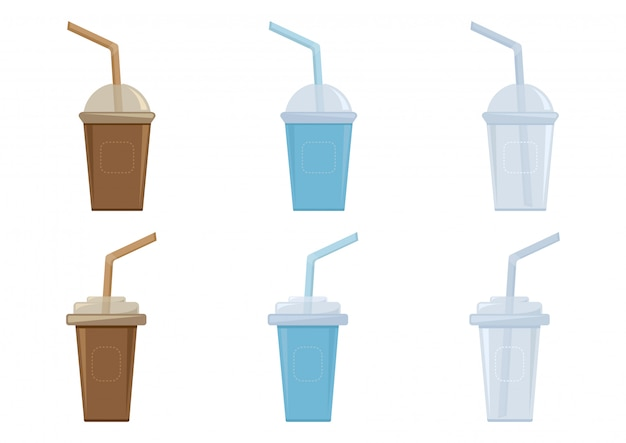 Cups with plastic lid and straw for coffee, tea, cappuccino, espresso.