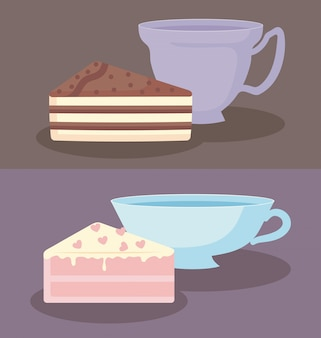 Cups with slices of sweet cake