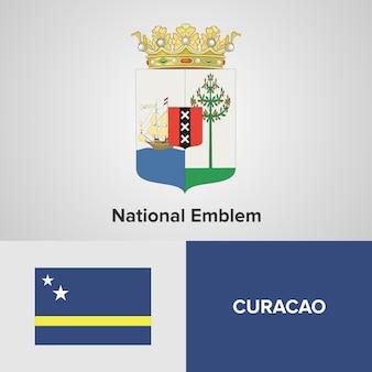 Curacao national emblem and flag