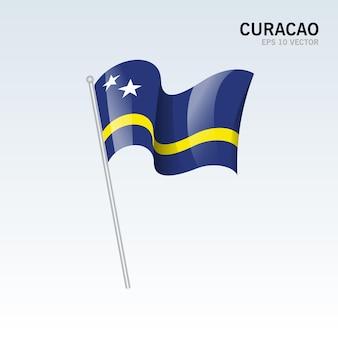 グレーに分離された旗を振ってキュラソー