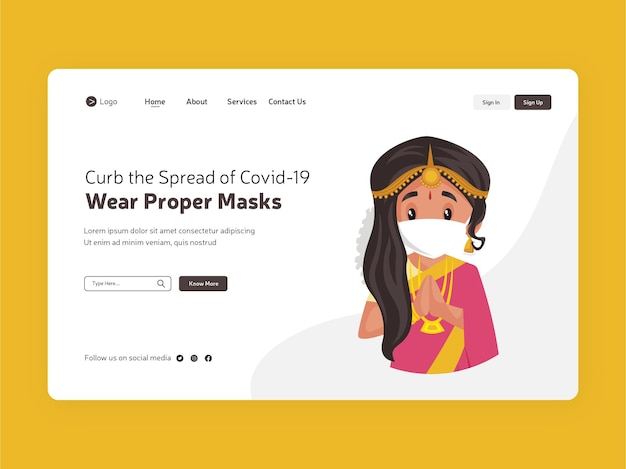 코로나 19 확산 방지 적절한 마스크 착용 랜딩 페이지 디자인
