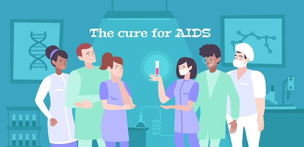 Cure for aids illustration