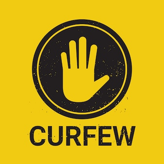 Curfew sign no entry hand stop sign gesture vector illustration