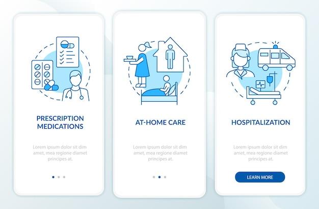 モバイルアプリのページ画面に搭載されている肺炎の治療。在宅および病院でのケアのウォークスルー3ステップのグラフィックによる説明と概念。線形カラーイラストとui、ux、guiベクトルテンプレート