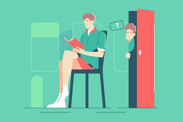 호기심 많은 남자가 친구 벡터 삽화를 들여다봅니다. 의자 플랫 스타일에 책을 읽는 남자. 소년은 밖을 내다본다. 호기심과 무언가 개념을 찾고 있습니다. 녹색 배경에 고립
