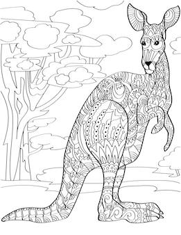 키가 큰 나무 배경 무색 선 그리기 매크로포드 스탠드와 함께 서 있는 호기심 많은 캥거루