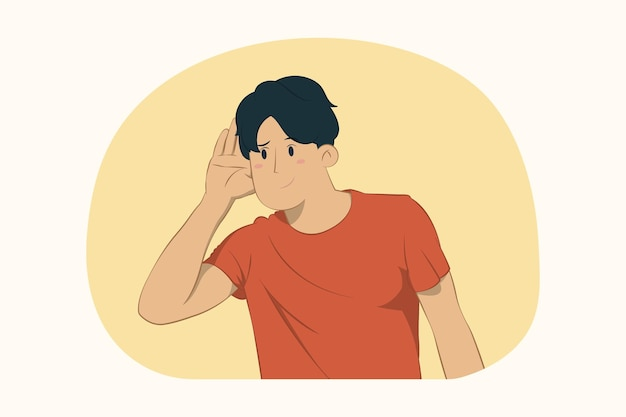 Curious young man try to hear you with hand near ear concept