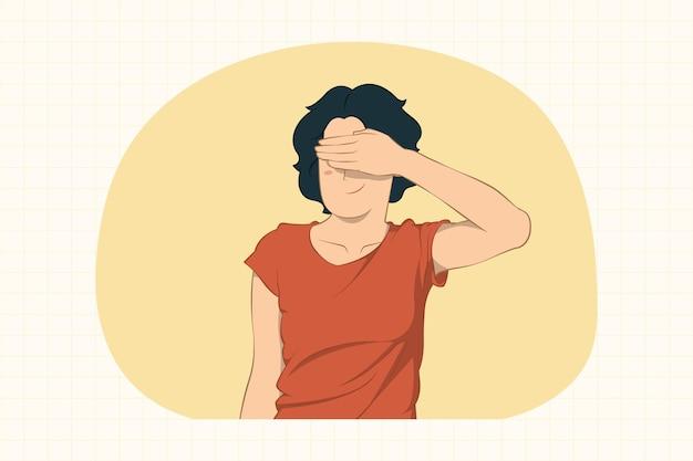 Любопытная молодая женщина, закрывающая глаза рукой