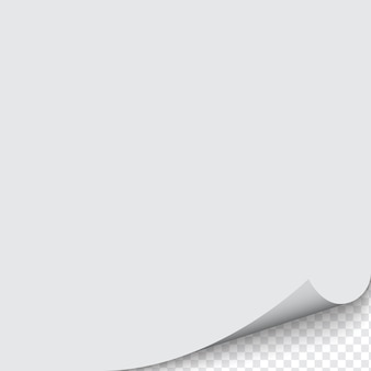 Загнутый угол бумаги на прозрачном фоне с тенями.