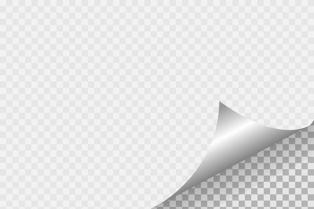 柔らかい影、リアルな紙のページで透明な背景に紙のカールしたコーナー
