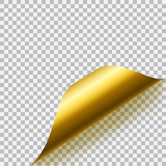 Загнутый угол бумаги с тенью на прозрачном фоне. прозрачность только в векторном формате