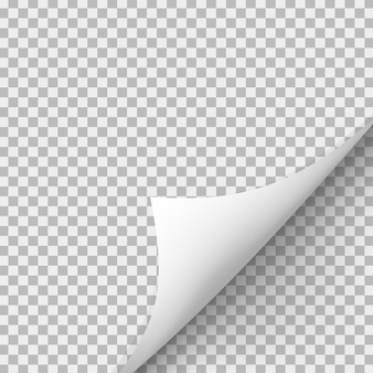 Curled corner of paper with shadow on transparent background.