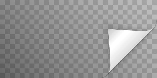 Курчавый угол страницы с тенью на прозрачном фоне. сгибание бумаги. шаблон иллюстрации для вашего дизайна.