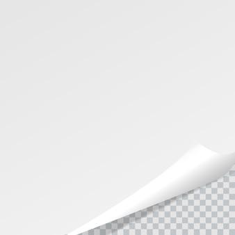 투명 배경에 그림자가있는 웅크 리고 페이지 코너.