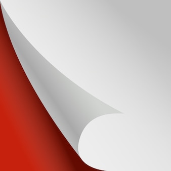 カールしたページ。ホワイトペーパーコーナー赤い背景。