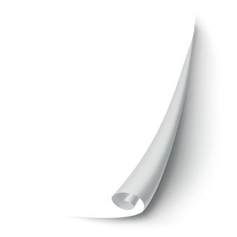 말린 종이 코너. 곡선 페이지 모서리, 페이지 가장자리 말림 및 구부러진 종이 시트와 사실적인 그림자. 종이 코너 배에 고립 된 흰색 배경.