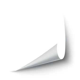 カールした紙の角。曲線のページコーナー、ページエッジのカール、リアルな影のある曲がった紙シート。