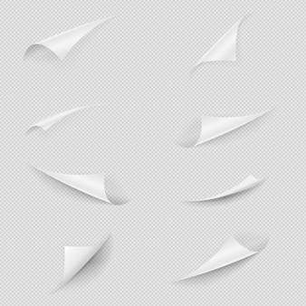 Скрученный бумажный уголок. глянцевый лист белой бумаги сложенные края установлены. коллекция загнутых углов пустой страницы с тенью и копией пространства на прозрачном фоне