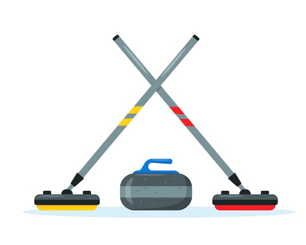 Curling brooms and stone set. winter ice sport equipment