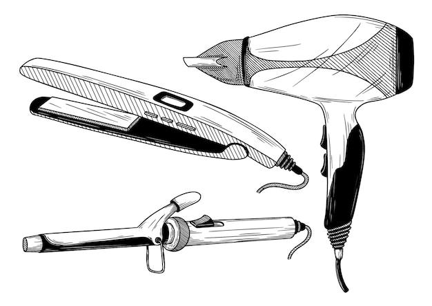 Щипцы для завивки, выпрямитель и фен изолированы. иллюстрация