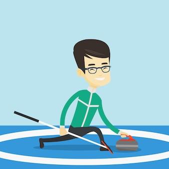 カーリングリンクでカーリングを再生カーリングプレーヤー。