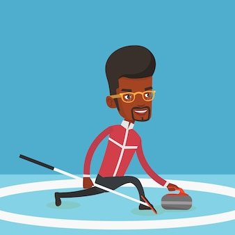 Curling player playing on the rink.