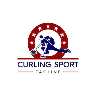 Curling sport logo
