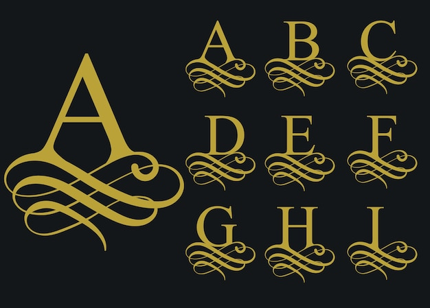 Фигурный каллиграфический шрифт, винтажный декоративный алфавит, художественная форма письма.