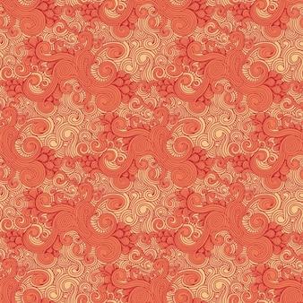 Curly drawn orange pattern