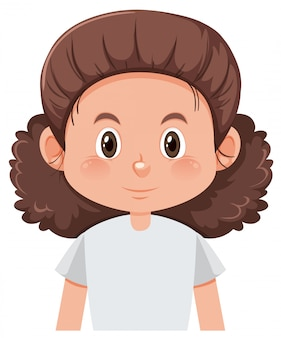 A Curly Hair Female Character Premium Vector