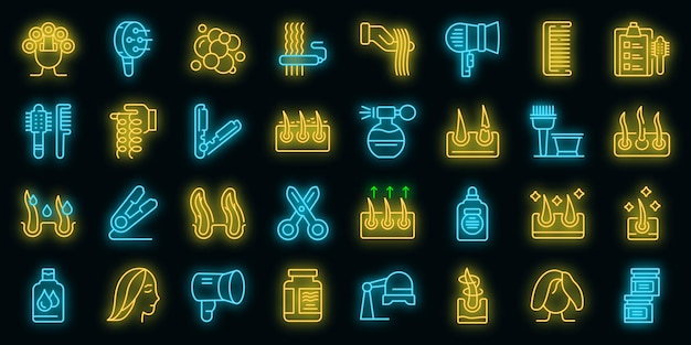 Curly hair icons set vector neon