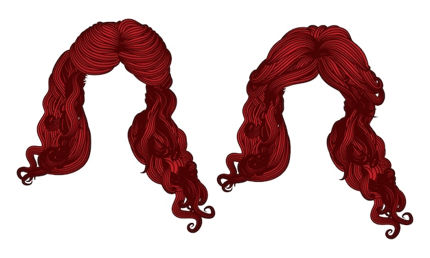 Curly hair of red color