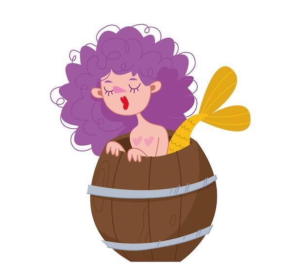 紫色の髪の巻き毛の人魚少女は木製の樽から外を見る神話の海