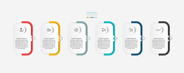 The curly rectangle explained step by step reports on the results of different lines infographic design