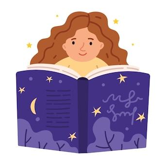 巻き毛の赤毛の少女が大きなファンタジーの本を読む