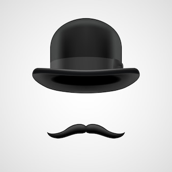 Curly retro moustaches and bowler hat elements. wealthy victorian aristocrat on grey bacground