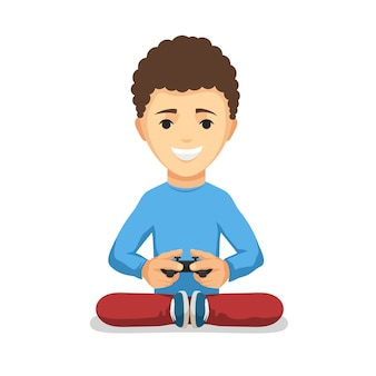 Curly teenager boy with game controller gamepad isolated on the white background.