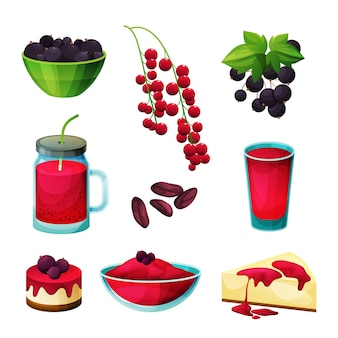 Currant berries food and products, blackcurrant and redcurrant sweets