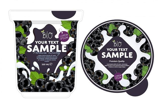 Currant yogurt packaging template.