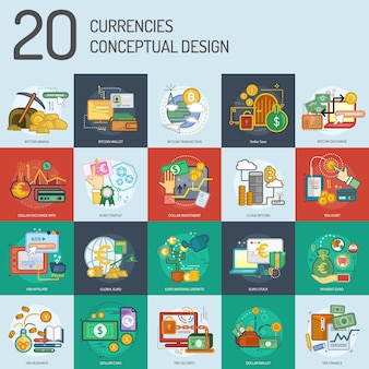 Currencies design collection