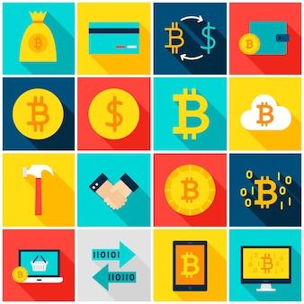 통화 bitcoin 다채로운 아이콘입니다. 벡터 일러스트 레이 션. 긴 그림자와 평면 사각형 금융 항목의 집합입니다.