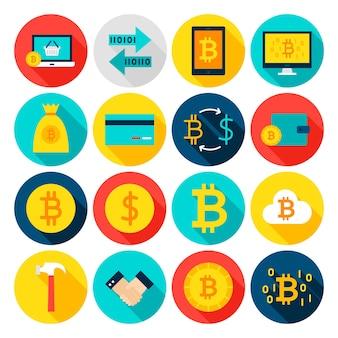 통화 bitcoin 평면 아이콘입니다. 벡터 일러스트 레이 션. 긴 그림자와 함께 원형 금융 항목의 집합입니다.