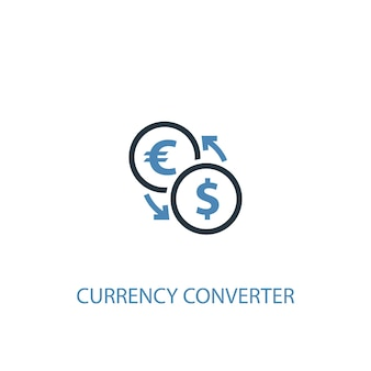 Currency converter concept 2 colored icon. simple blue element illustration. currency converter concept symbol design. can be used for web and mobile ui/ux