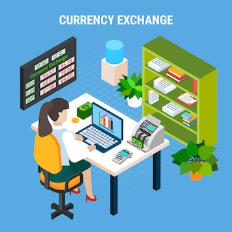 Currency exchange banking isometric composition